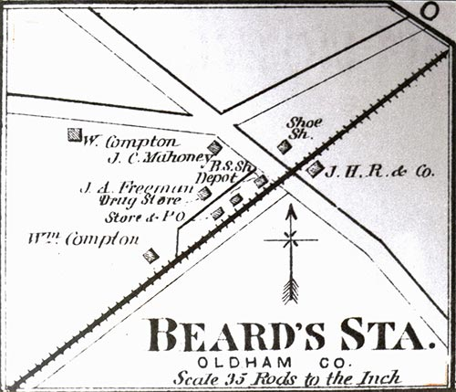 Enlargement Map of Beard's Station from the 1879 Beers & Langan Atlas showing the railroad depot, black smith shop, stores and post office.