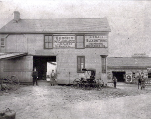Blacksmith Shop at Beard's Station circa 1867 owned by A.S. Hall. Early industry here focused around stagecoach routes. With the introduction of the railroad, the name was shortened to 'Beard'. Railroad engineers would yell 'Whiskers' instead, prompting a change in 1909 to 'Crestwood'.