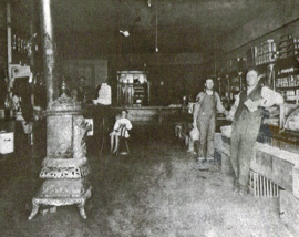 Store at Beard's Station located north of the railroad tracks and owned by Joe Eastes (right). Shopping at stores during this time provided everything from dry goods and groceries to hats and boots. Stores also proved to be a great place to discuss the topics of the day with other townsfolk.