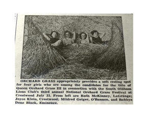 Third Annual National Orchard Grass Festival in 1954 sponsored by the South Oldham Lions Club held at Crestwood School. The Lions created this festival to promote the use of orchard grass seed for pasture in which Oldham County was one of the leading producers in the nation.
