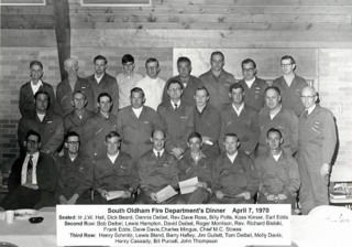 The South Oldham Volunteer Fire Department was created in 1950, prior to the incorporation of Crestwood in May of 1970. Many notable citizens in this picture, and many not pictured, donated their time to keep the community safe. Past Crestwood Mayor 'Emeritus' Dennis Deibel is pictured.